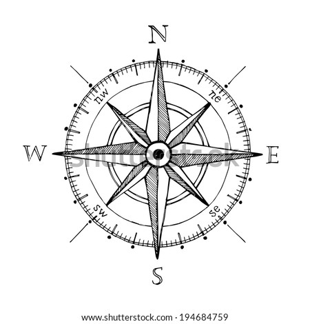 compass wind rose hand drawn