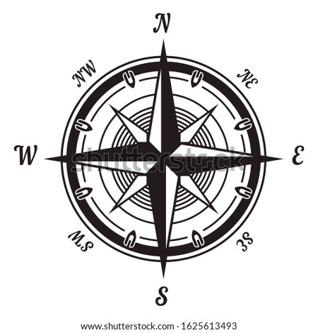 Compass wind rose icon. Navigational instrument showing directions with arrow on round face, portable device, vintage style. Travel location and exploration. Vector illustration, white background.