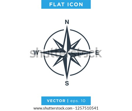 Compass wind rose icon vector logo design template. Vintage style.
