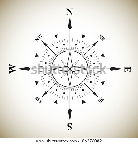 Compass wind rose vintage