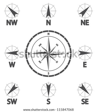 Compass wind rose. Wind icon. Vector illustration.