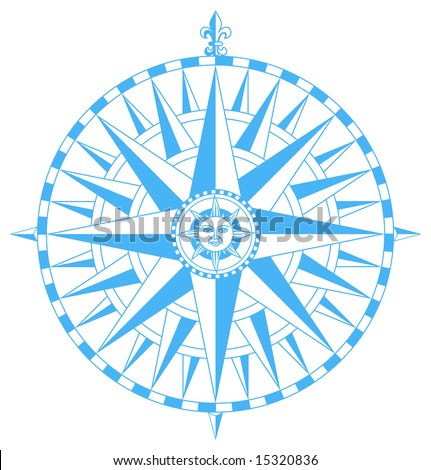 compass wind rose with fleur de