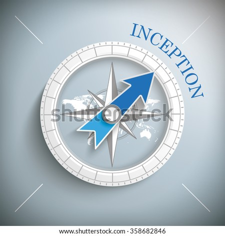 compass with text inception on