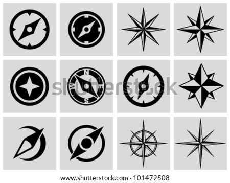 Compasses icons set.