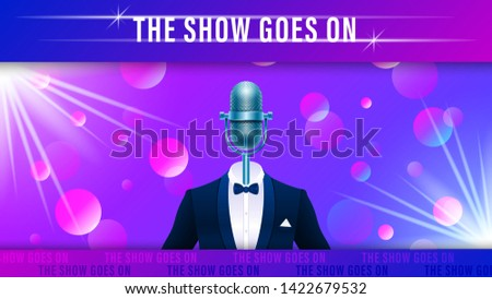 Compere, master of ceremonies, emcee on stage. Realistic blue metal microphone in tuxedo, suit with bowtie on colorful light effect background. Vector Illustration Stock photo ©
