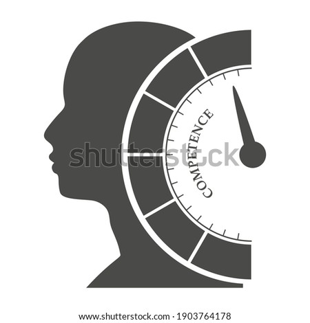 Competence level scale with arrow. The measuring device. Head of man silhouette. Stock photo ©