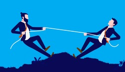 Competing businessmen - Two men playing tug of war outdoors. Business competition, rivalry and battle concept. Vector illustration.
