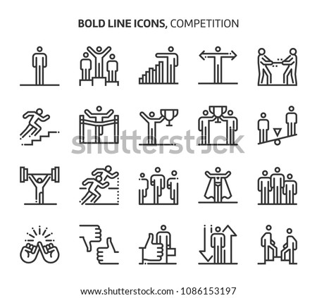 Competition, bold line icons. The illustrations are a vector, editable stroke, 48x48 pixel perfect files. Crafted with precision and eye for quality.