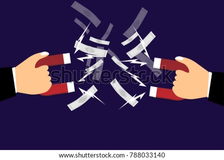 competition business attract customer concept, one hand holding magnetic  and money in the marketing, vector art and illustration. #788033140