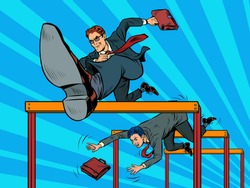 Competition businessmen jump over barriers. Pop art retro vector illustration kitsch vintage 50s 60s style
