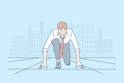 Competition, challenge, business concept. Young happy smiling businessman boy office clerk or manager cartoon character ready for work or race. Preparation for contest or startup and career beginning.