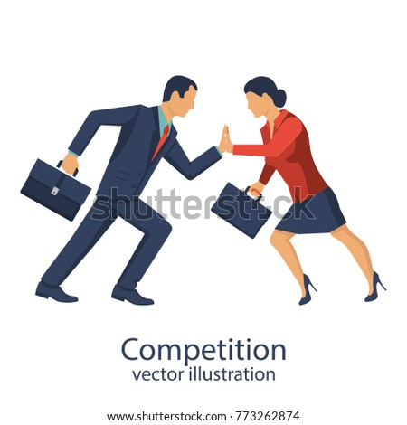 Competition concept. Business people. Conflict businessman woman. 