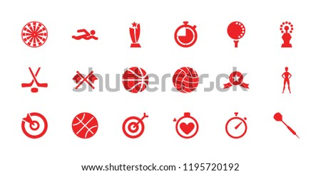 Competition icon. collection of 18 competition filled icons such as hockey, golf ball, dart, volleyball, trophy, target. editable competition icons for web and mobile.