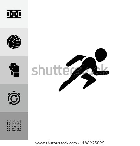 Competition icon. collection of 6 competition filled icons such as volleyball, stopwatch, field, boxing gloves, football pitch. editable competition icons for web and mobile.