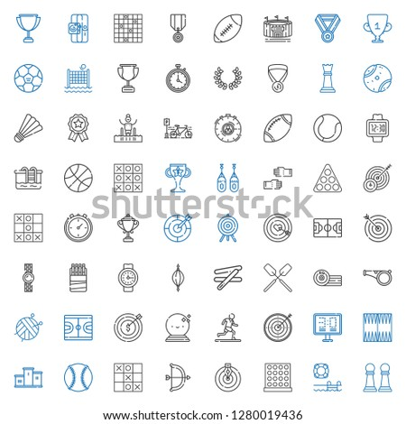 competition icons set. Collection of competition with pawn, swimming pool, tic tac toe, goal, archery, baseball, podium, backgammon, scoreboard. Editable and scalable competition icons. #1280019436