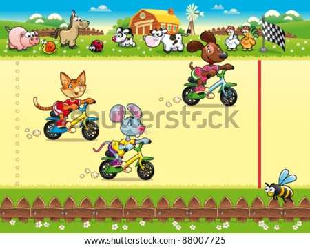 Competition in Farm. Cartoon and vector illustration, isolated objects