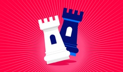 Competition - Two chess pieces competing on red dramatic background. Rivalry, checkmate and competitors concept. Vector illustration.