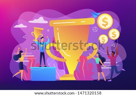 Competition winner holding golden trophy and medal. Leadership and achievement. Prize pool, prize money distribution, tournament main prize concept. Bright vibrant violet vector isolated illustration