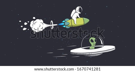 competitions alien on flying saucer and astronaut on rocket in space.Spaceship Racing.Vector illustration