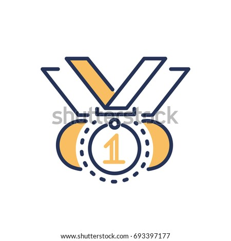 Competitions award - modern vector single line design icon. An image of three medals on white background. Sport event, contest winner trophy for your presentation. Victory symbol.