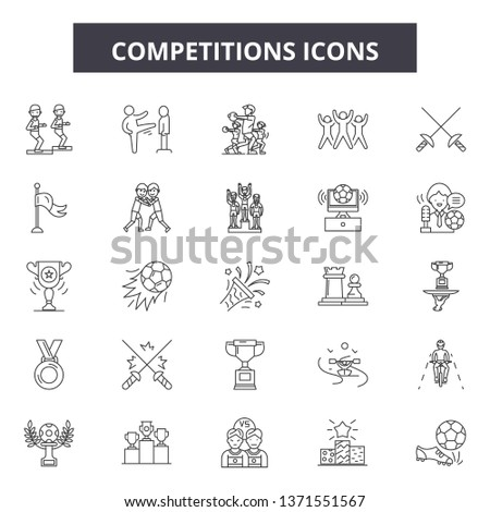 Competitions line icons, signs set, vector. Competitions outline concept, illustration: competition,dewin,isolated
