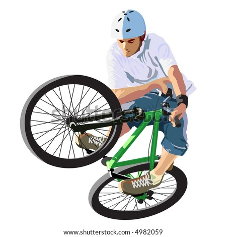 Competitions on dirt jumping. A vector illustration.