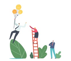Competitive Advantages. Female Business Character Climbing Ladder Chase Businessman Flying on Light Bulbs Balloons in Sky. Worker with Creative Idea Fly to Success. Cartoon People Vector Illustration