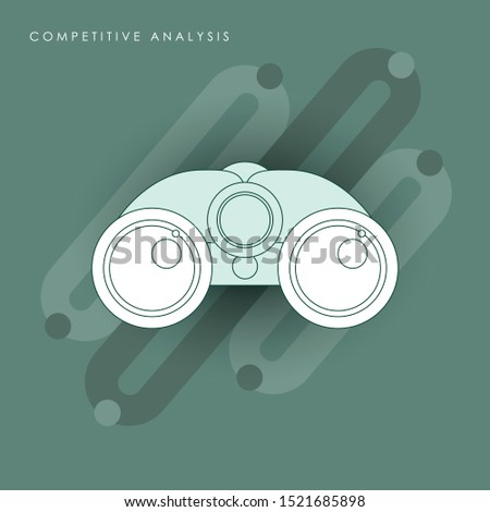 Competitive analysis - Data analysis - Market competition - Business strategy. Concept of line icon with green theme