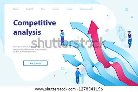 Competitive Analysis Service Isometric Vector Web Banner or Landing Page Template. Business Strategy Planning, Competition on Market, Financial, Statistics Data Analyzing, Business Digital Technology