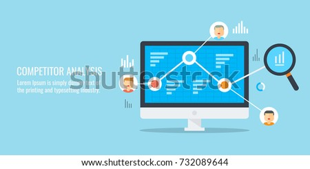 Competitor analysis, Digital marketing analytics, market research vector illustration with flat icons