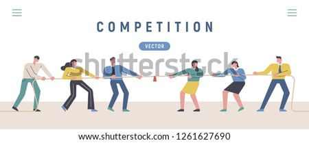 Competitors teams tugging. banner concept template illustration. flat design vector graphic style.