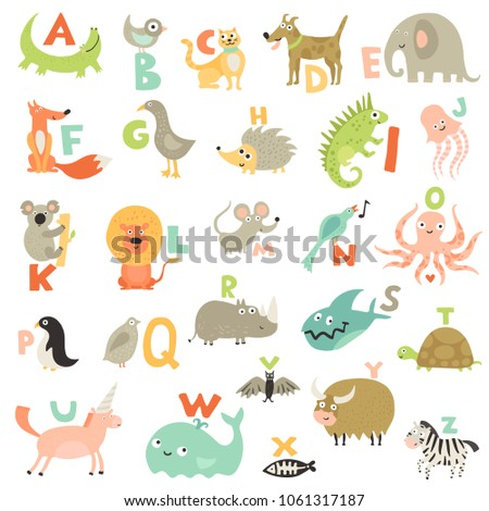 Complete children abc alphabet for babies toddlers preschoolers with funny animals pictures for each letter vector illustration