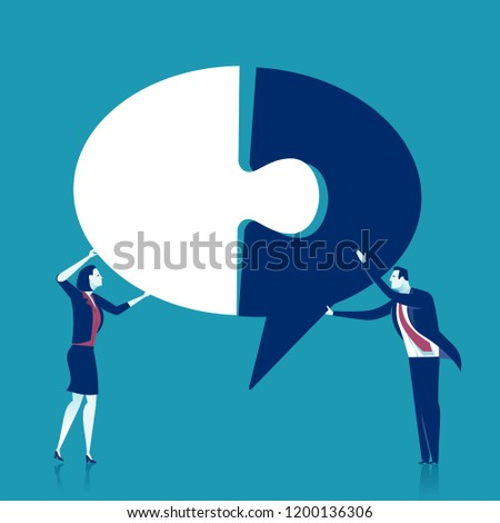 Complete. Creating ideas - cooperation. Business vector concept illustration