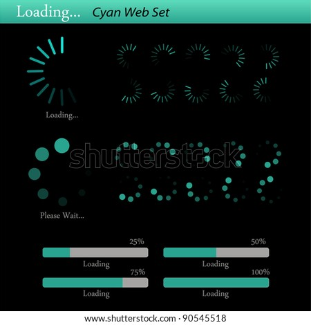"""Complete cyan, colorful """"loading"""" web set on a dark background."""