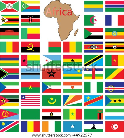 Complete set of african flags