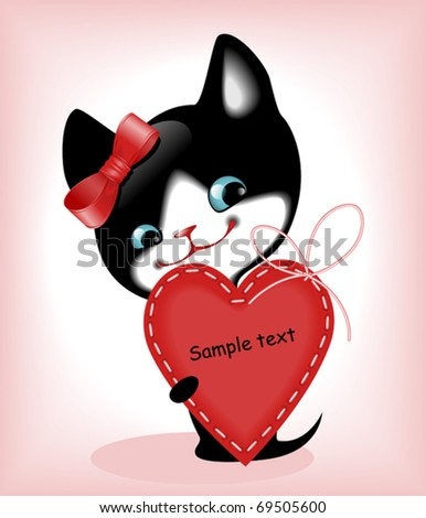 complete set of cards. Valentines Day. heart and a kitten 7. Similar in a portfolio