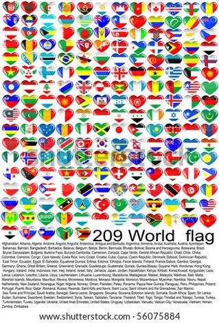 Complete set of Flags hearts of the world sorted alphabetically with official colors