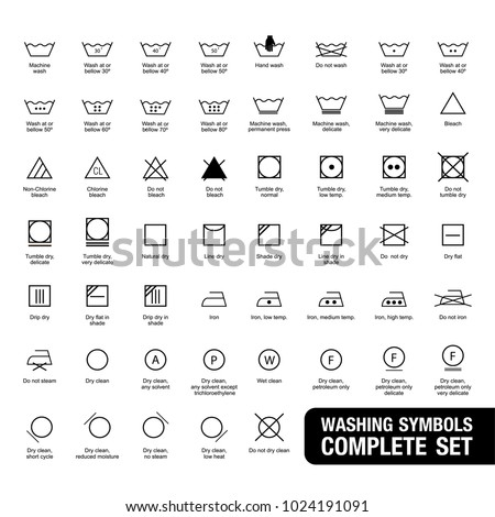 Complete set of laundry symbols.