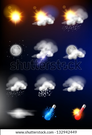 Complete set of modern realistic weather icons.
