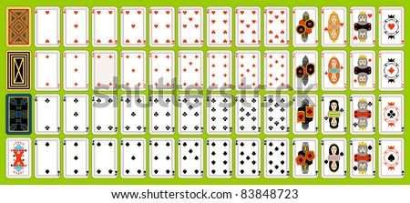 Complete set of playing cards. Playing cards are located on a green background.
