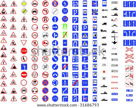 complete set of traffic signs