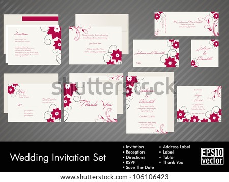 complete set of wedding invitations or announcements with floral decorative artwork eps 10 - Wedding Invitations Sets