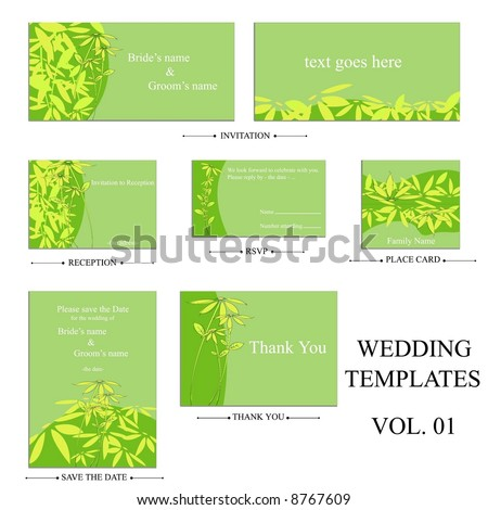 stock vector complete set of wedding templates