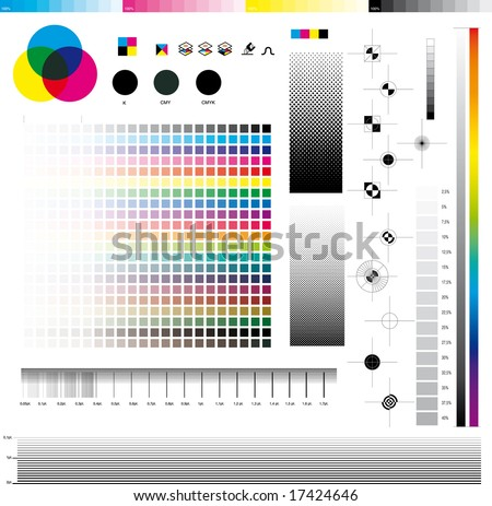 Complete set ofDesktop publishing graphic symbol utilities; good for printing tests. In detail: Registration marks, four process ramps and thickness ramps. - stock vector