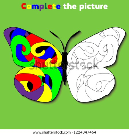 Complete the picture.  Education logic game for preschool kids. Vector Illustration.