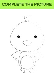 Complete the picture of cute chick. Coloring book. Copy picture. Handwriting practice, drawing skills training. Education developing printable worksheet. Activity page. Cartoon vector illustration.