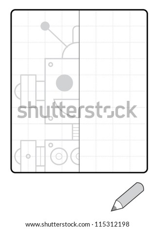 Complete the Symmetrical Drawing: Robot (one-page drawing task with grid)