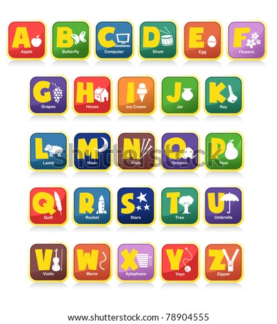 complete 26 vector of alphabet along with the initial objects. Suitable for children poster or toys