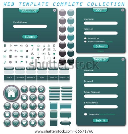 Complete web template with forms, bars, buttons, icons and chat bubbles isolated on a white background. - stock vector