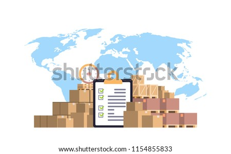 completed checklist clipboard parcel packages paper box blue world map background international delivery industrial concept flat horizontal vector illustration
